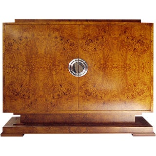 Art Deco Odeon Olive Burl Cabinet Cabinet For Sale