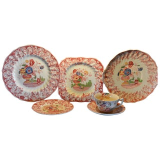 Royal Doulton Pomeroy Red Multi-Color Center Design China For Sale