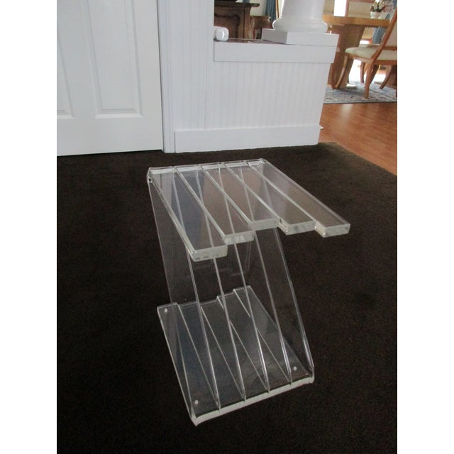 1970s Hollywood Reegncy Lucite Z Shaped Side Table/Plant Stand For Sale - Image 6 of 13