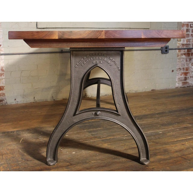 Industrial Desk – Walnut Top With Cast-Iron Legs For Sale - Image 9 of 13