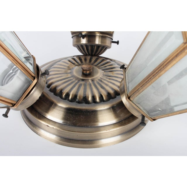 Pair of 3-Lamp Brass Ceiling Fixtures With Glass Shades For Sale - Image 5 of 7