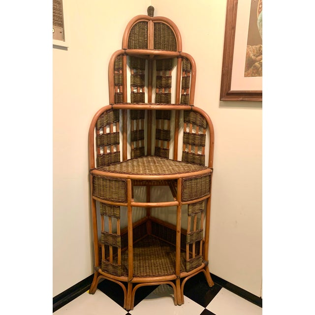 Vintage Rattan Corner Cabinet For Sale - Image 10 of 11
