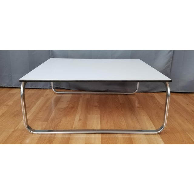 dfca7063ed555 Mid-Century Modern Large Square Coffee Table With Chrome Base White Top For  Sale. Much like the advent of plastic