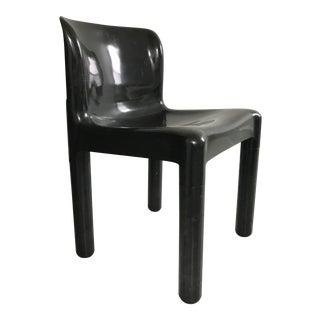 1970's Vintage Kartell Carlo Bartoli 4875 Black Plastic Chair For Sale