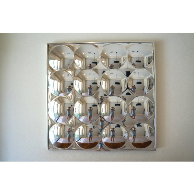 Modern Vintage 1970's Op Art 16 Bubble Convex Wall Mirror For Sale - Image 3 of 5