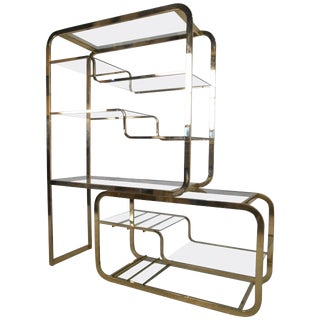 1970s Italian Milo Baughman for Design Institute of America Brass & Glass Extendable Etagere For Sale