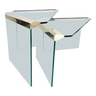 Brass & Glass Nesting Tables - A Pair For Sale