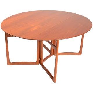 Solid Teak Drop-Leaf Dining Table by Peter Hvidt and Orla Mølgaard-Nielsen For Sale