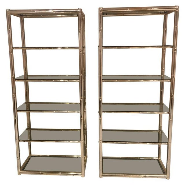 Faux Bamboo Brass Etagere Display Shelves - A Pair For Sale - Image 11 of 12