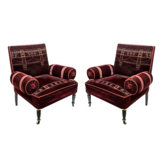 Armchairs With Bolster Arms Shape and Square Back on Ebonized Feet-a Pair For Sale