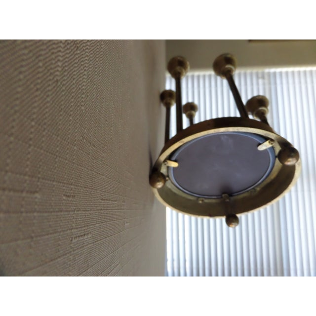 Solid Brass Tulip Shape on a Circular Mirrored Footed Platform For Sale In Dallas - Image 6 of 8