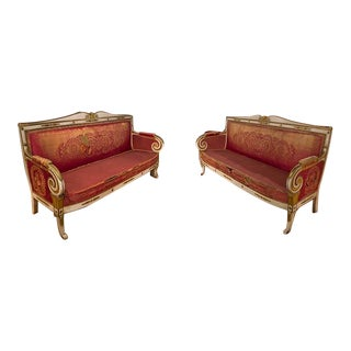 Late 19th Century Russian Painted and Gilt Sofas- a Pair For Sale