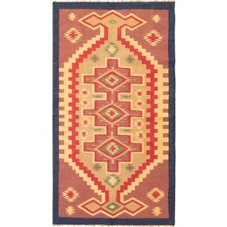Vintage Mid-Century Geometric Cotton Flat Weave Rug - 3′10″ × 5′1″ For Sale