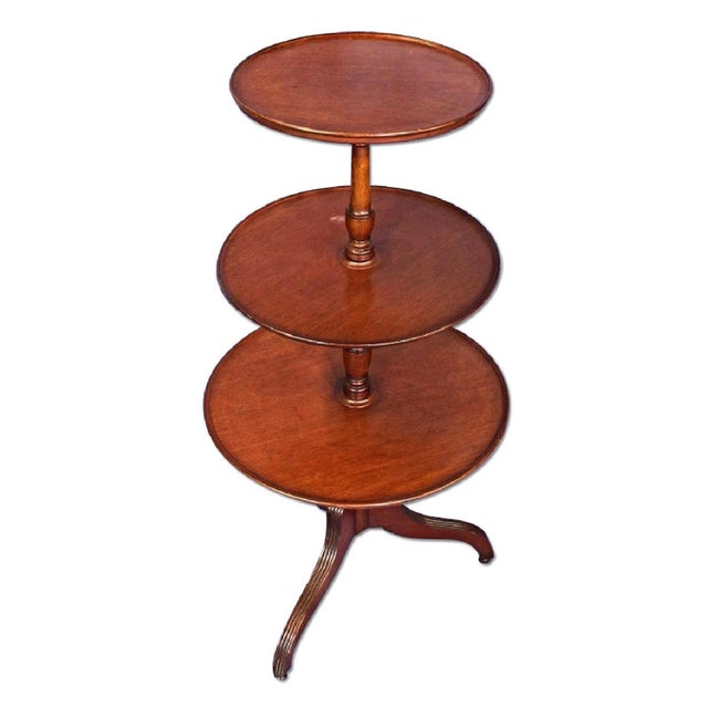 English Traditional Antique Sheraton Style 3 Tier Mahogany Dumbwaiter Tea Table For Sale - Image 3 of 10