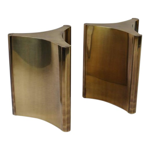 Pair of Mastercraft Brass Dining Table Pedestals For Sale