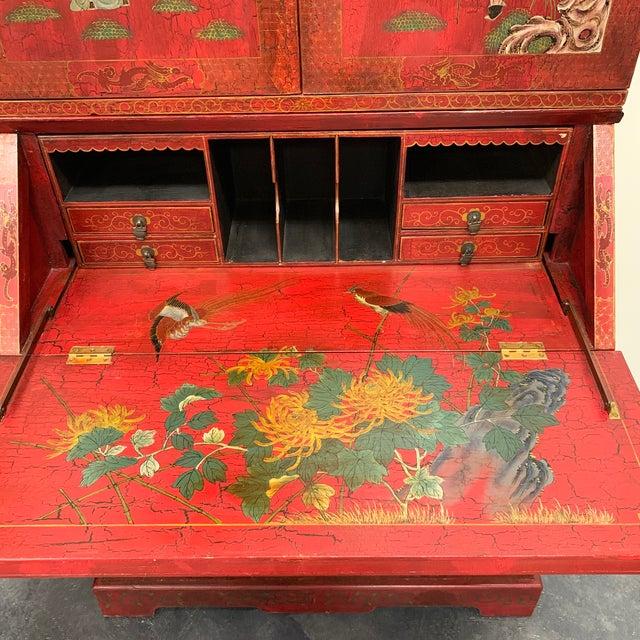 Red Chinoiserie Painted Secretary