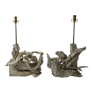 Pair of Mid-Century Modern Driftwood Table Lamps For Sale