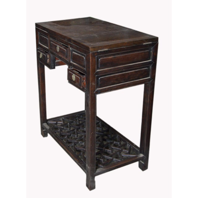 Mid 20th Century Chinese Vintage Dark Lacquered Wood Dressing Table With Mirror and Drawers For Sale - Image 5 of 8