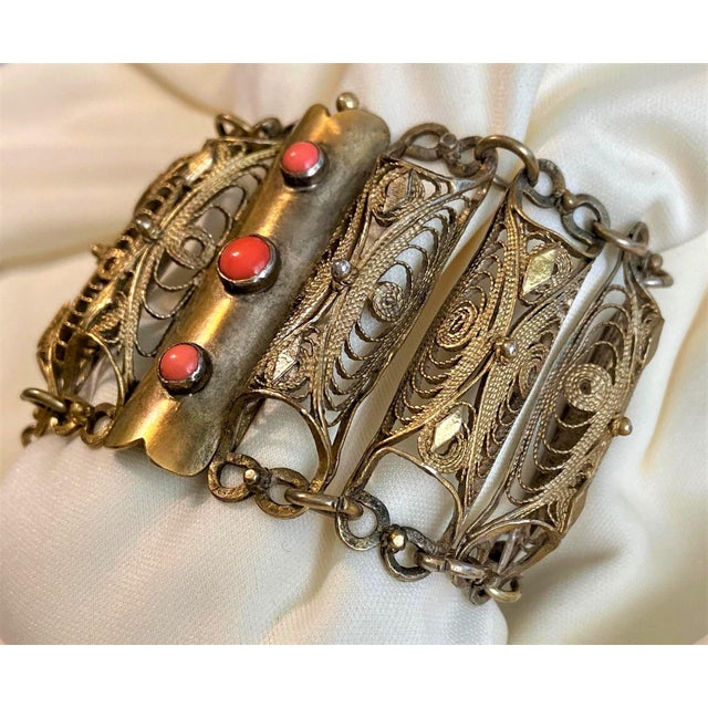 Asian Plated Brass Filigree and Coral Cabochon Bracelet For Sale - Image 3 of 9