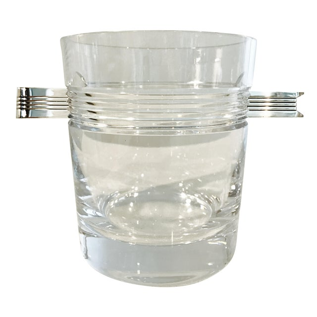 "Christofle ""Atalante"" Crystal Ice Bucket & Silverplated Ice Tongs - Image 1 of 8"