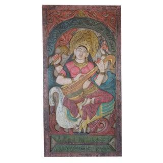 Vintage Indian Hand Carved Wood Saraswati Playing Veena on Swan Hindu Goddess of Knowledge Sculptural Panel