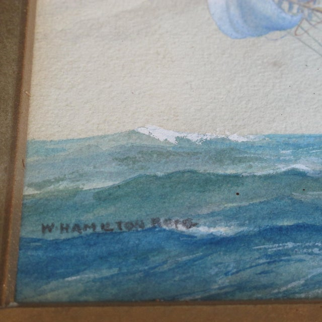 Framed Ship Watercolor Painting For Sale - Image 7 of 11