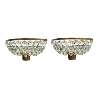 French Art Deco Crystal and Bronze Sconces - a Pair For Sale