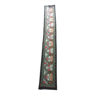 Vintage Uzbekistan Embroidered Silk Suzani Wall Runner Hanging For Sale