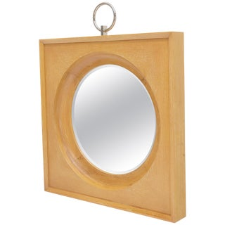 Large Square Cerused Oak Frame Round Wall Mirror For Sale