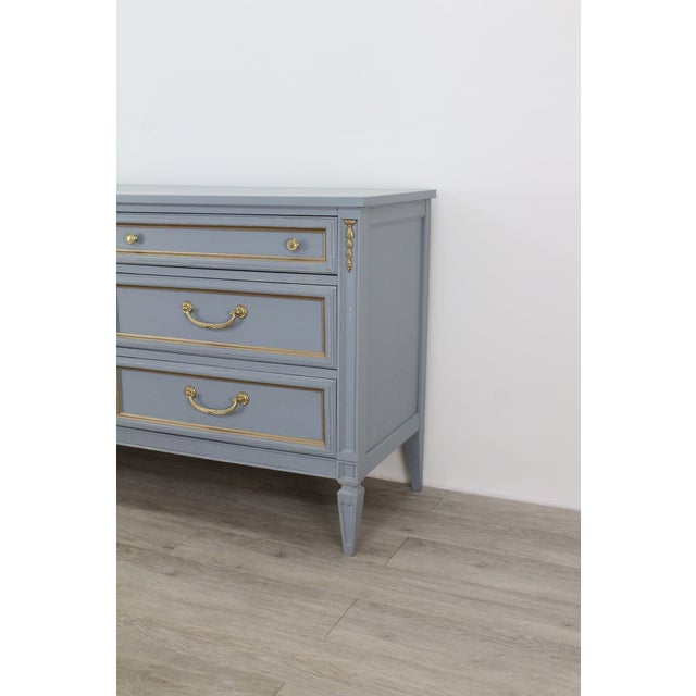 Glass Mid Century Gray Neoclassical Style Dresser For Sale - Image 7 of 11