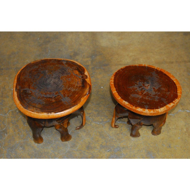 Carved Elephant Drink Tables - a Pair For Sale - Image 4 of 7
