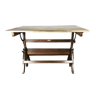 1950s Boho Chic Oak & Pine Drafting Table Preview