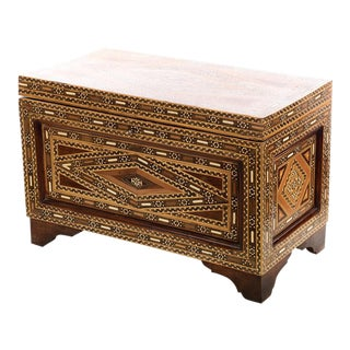 Beautiful Moroccan Inlaid Vintage Trunk Chest w/Geometric design For Sale