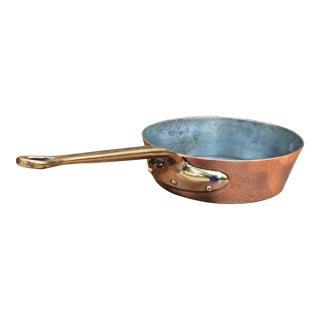 Vintage English Copper Pan Skillet With Brass Handle For Sale
