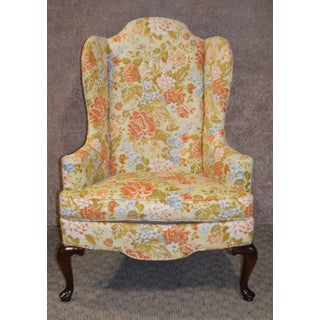 Drexel Floral Queen Anne Style Wing Chair Preview