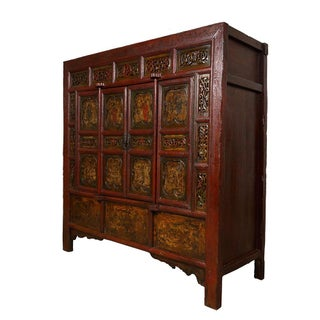 19th Century Chinese Carved Red Lacquered Temple Armoire Preview