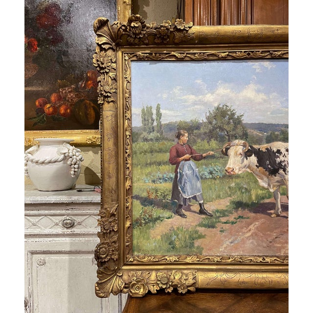 Canvas 19th Century French Oil on Canvas Cow Painting in Carved Frame Signed Gregoire For Sale - Image 7 of 13