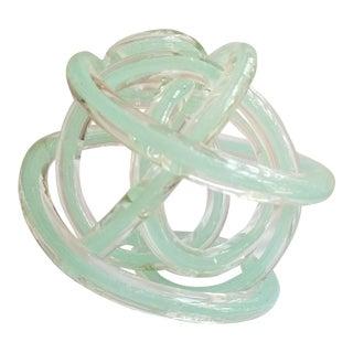 Soft Mint Handblown Cased Glass Sculptural Knot- For Sale