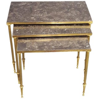 Set of Louis XVI Style Marble-Top Bronze Nesting Tables For Sale