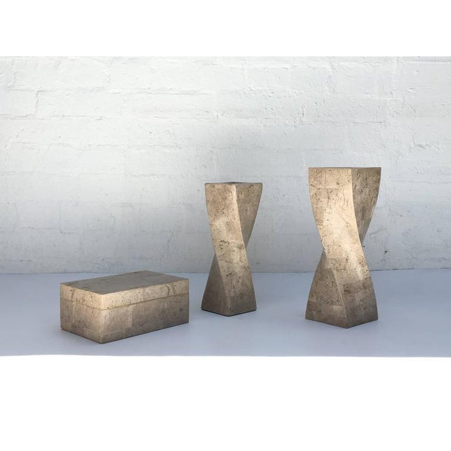Stone Polished Travertine Box and Candlesticks by Maitland-Smith For Sale - Image 7 of 7