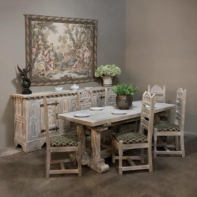 Antique Rustic Gothic Stripped Oak Dining Table was literally designed to last for centuries, hand-crafted from thick,...