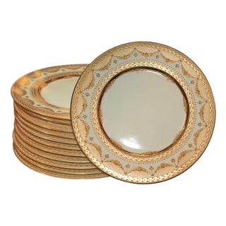 Early 20th Century Vintage Ovington Brothers Heavily Encrusted Gold Dinner Plates- Set of 12 For Sale