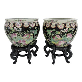 Chinese Famille Noire Gold Fish Planters on Stands - a Pair For Sale