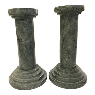 Vintage Green Marble Candlesticks - a Pair For Sale