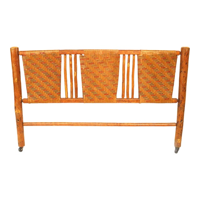 20th C. American Rustic Woven Headboard by the Columbus Hickory Furniture Co. For Sale