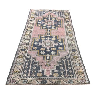 1960s Oushak Handwoven Turkish Tribal Distressed Handmade Rug - 4′3″ × 8′2″ For Sale