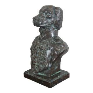 "Maitland Smith Bronze Napoleon Dog Bust Sculpture, Statue Military Uniform 16"" For Sale"