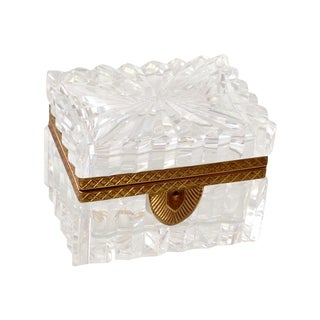French Cut Crystal Banded Jewelry Box For Sale
