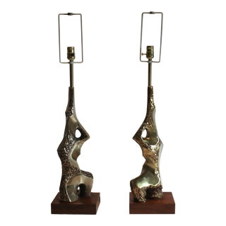 Pair of Sculptural Brutalist Lamps by Laurel For Sale