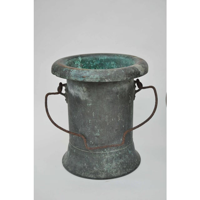19th century pair of verdigris vessels. Found in France. Copper construction with iron handles. Fabulous weathered...